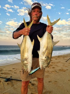 Brad Lattau fished the surf just north of Cabo  with guide Wes Brough and wasted no time catching two jack on one jig!
